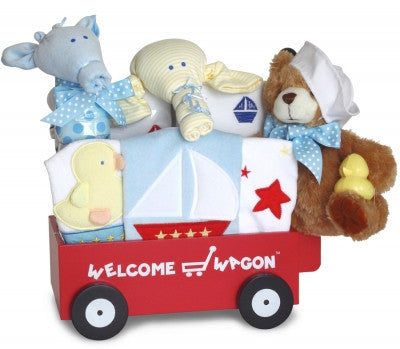 Nautical Baby Boy Welcome Wagon (#BGC326) - Stork Baby Gift Baskets