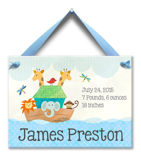 Noah's Ark Personalized Wall Tile (Boy) (#LWC-021B) - StorkBabyGiftBaskets