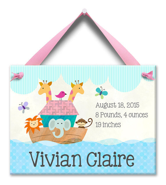 Noah's Ark Personalized Wall Tile (Girl) - StorkBabyGiftBaskets
