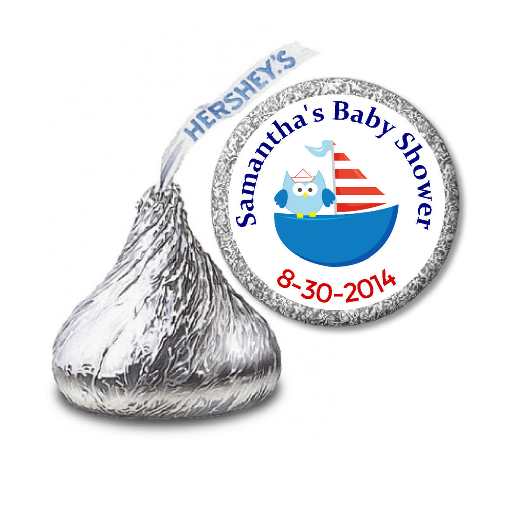 Owl Sailboat Stickers -  Hershey's Kisses Candy  (#HKS08) - StorkBabyGiftBaskets - 2