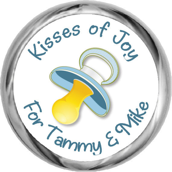 Personalized Blue Pacifier Stickers - Baby Candy Kisses (#HKS35) - StorkBabyGiftBaskets - 1