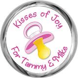 Personalized Pink Pacifier Stickers - Baby Candy Kisses (#HKS34) - StorkBabyGiftBaskets - 1