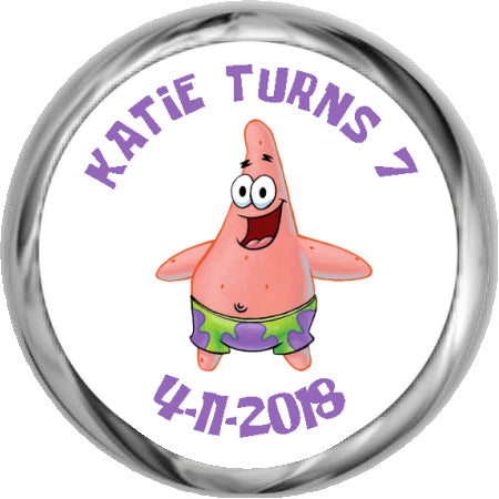 Patrick Star- Custom Hershey Birthday Stickers