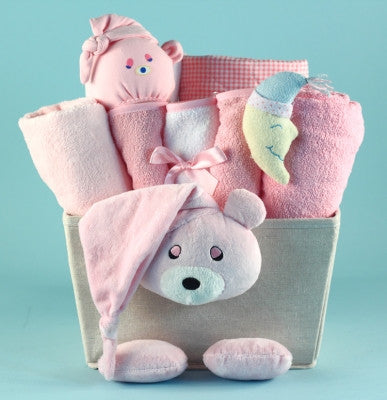 Bear Plush Baby Shower Basket (#BGC368) - Stork Baby Gift Baskets
