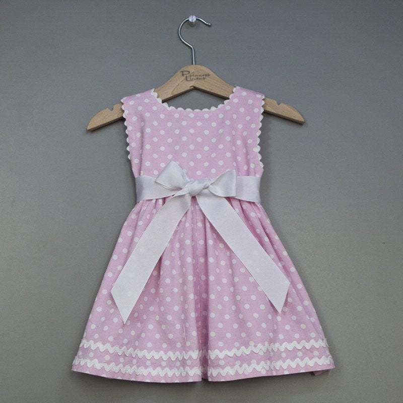 Personalized Pink Polka Dot Pique Sash Dress (#PL7) - StorkBabyGiftBaskets - 3