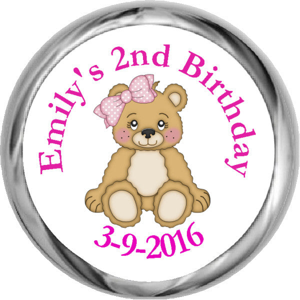 Pink Teddy Bear Personalized HERSHEY KISSES Stickers (#HKS316) - StorkBabyGiftBaskets