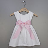 Girl's Pique Dress - Light Pink Sash (#PL6) - StorkBabyGiftBaskets - 2