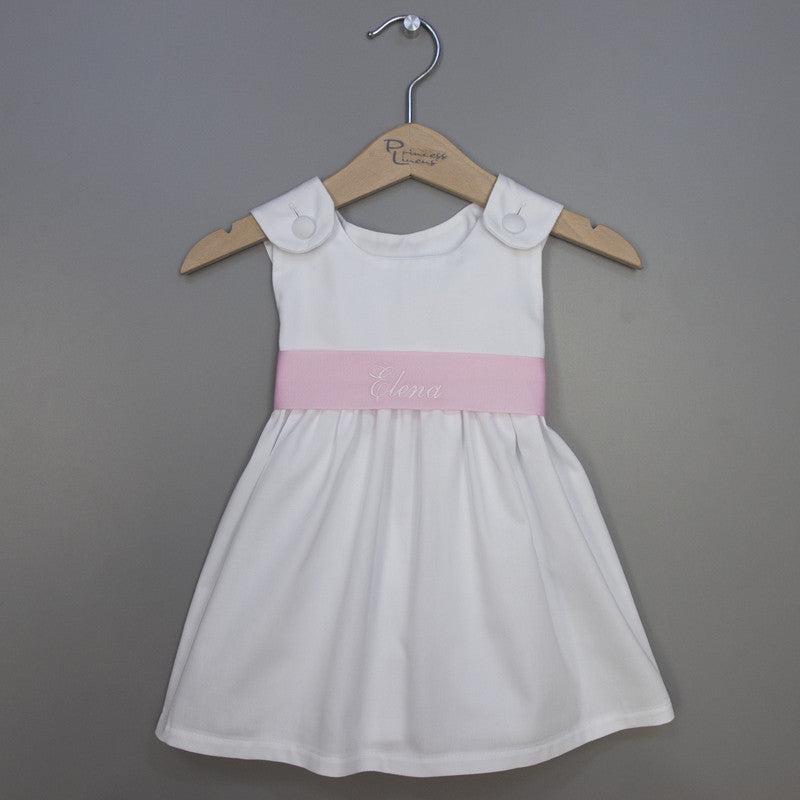Girl's Pique Dress - Light Pink Sash (#PL6) - StorkBabyGiftBaskets - 1