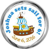 Pirate Ship Personalized HERSHEY KISSES Stickers (#HKS332) - StorkBabyGiftBaskets