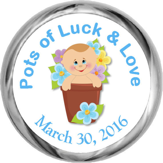 Pots of Luck Boy Sticker - Hershey Kisses Baby Shower (#HKS32) - StorkBabyGiftBaskets - 1