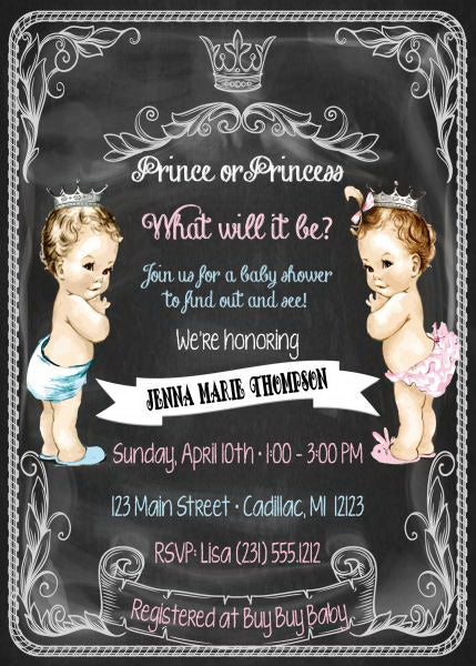 Prince or Princess? Gender Reveal Invitations