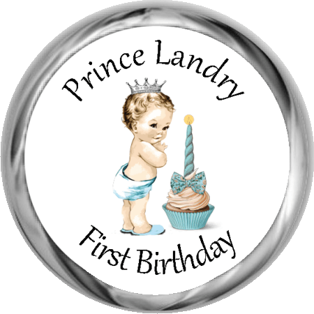 Vintage Prince 1st Birthday - Personalized Candy KISSES (#HKS301) - Stork Baby Gift Baskets