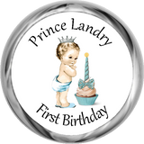 1st Birthday Vintage Prince - Personalized Candy KISSES (#HKS301) - Stork Baby Gift Baskets