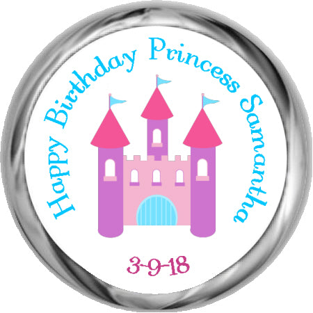 Princess Castle- Birthday Hershey Kisses Stickers