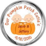Pumpkin Patch Twin Boys - Kisses Candy Sticker Favors (#HKS27) - StorkBabyGiftBaskets - 1