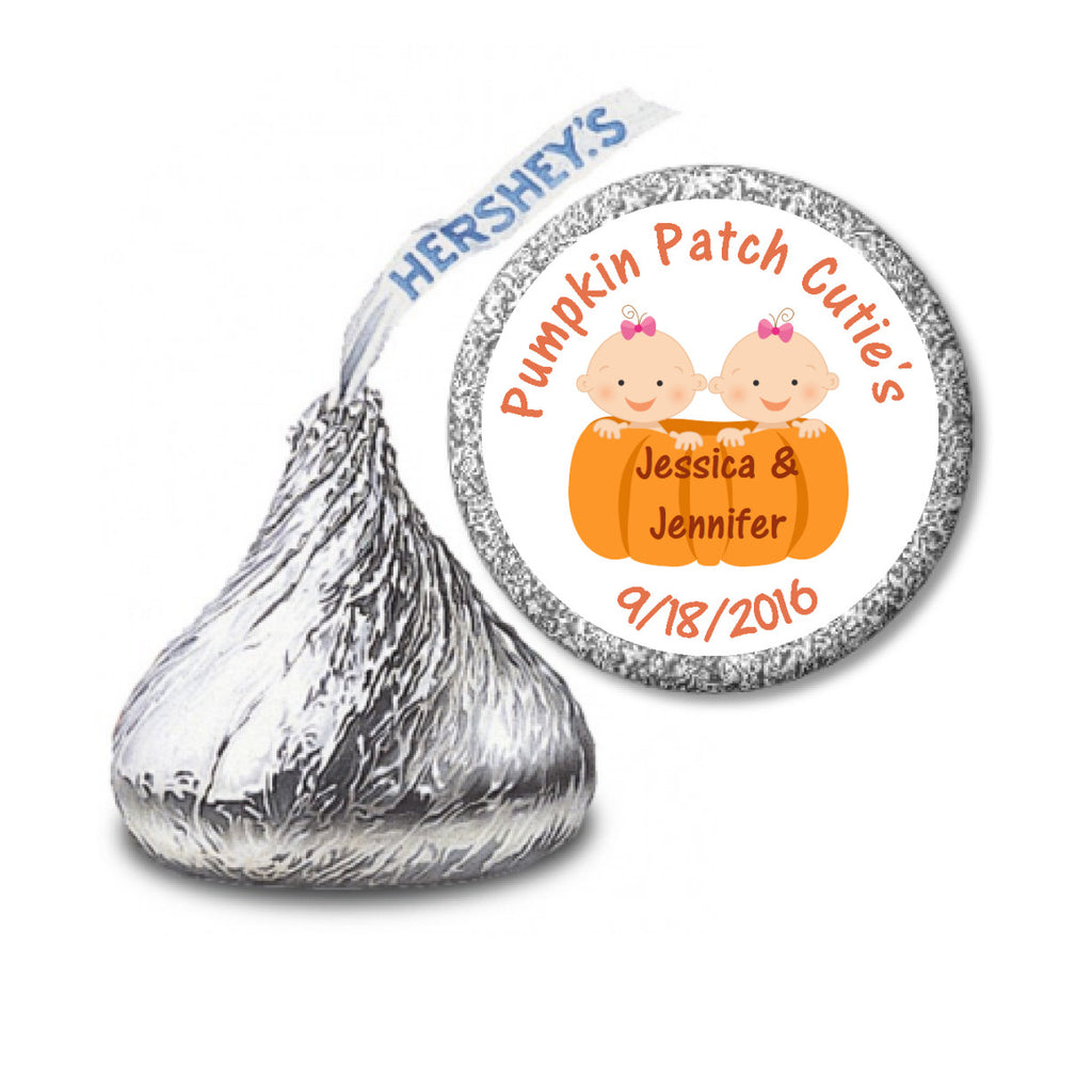 Pumpkin Patch Twin Girls - Kisses Candy Sticker Favors (#HKS26) - StorkBabyGiftBaskets - 2