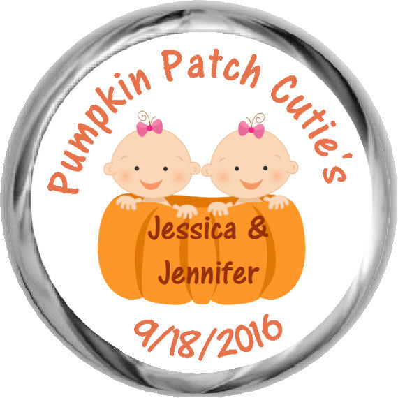Pumpkin Patch Twin Girls - Kisses Candy Sticker Favors (#HKS26) - StorkBabyGiftBaskets - 1