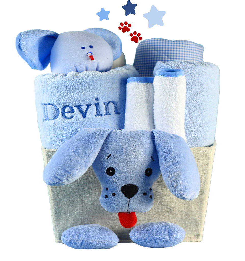 Puppy Plush Baby Shower Basket