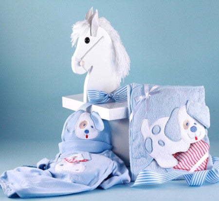 Puppy Layette in Rocking Horse Designer Box (#BGC56) - Stork Baby Gift Baskets