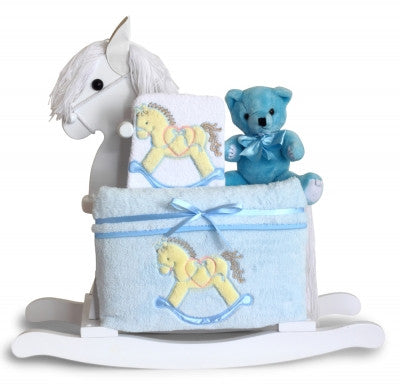Beautiful Baby Boy Rocking Horse & Layette Collection (#BGC324) - Stork Baby Gift Baskets