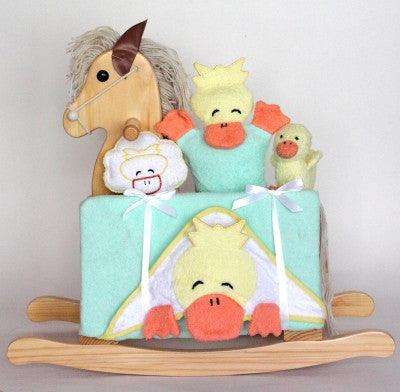 Natural Rocking Horse Unisex Baby Gift Set (#BGC336) - Stork Baby Gift Baskets