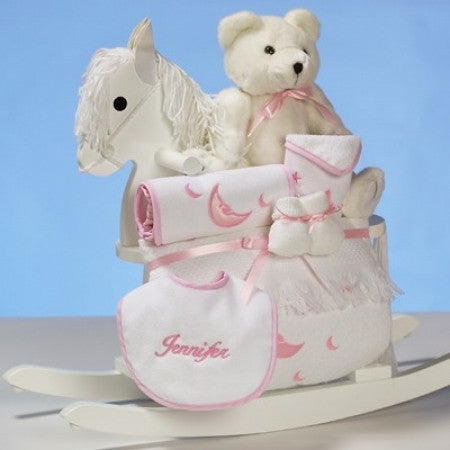 Baby Girl's Personalized Rocking Horse Gift Set (#BGC14) - Stork Baby Gift Baskets - 1