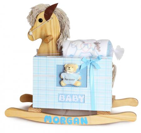KEEPSAKE ROCKING HORSE & FOREVER BABY ALBUM  - Blue (#BGC309) - Stork Baby Gift Baskets