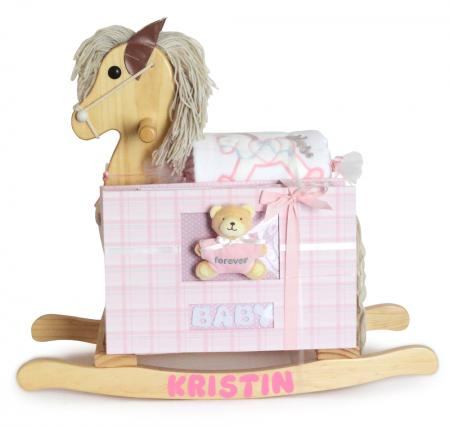 Keepsake Rocking Horse & Forever Baby Album Gift Set - Pink