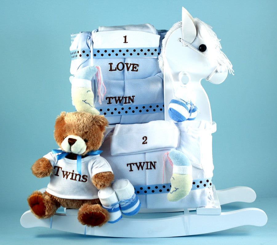 Newborn Twins Rocking Horse Gift Set (#BGC306) - StorkBabyGiftBaskets - 2