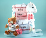 Newborn Twins Rocking Horse Gift Set (#BGC306) - StorkBabyGiftBaskets - 3