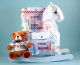 Newborn Twins Rocking Horse Gift Set (#BGC306) - StorkBabyGiftBaskets - 1