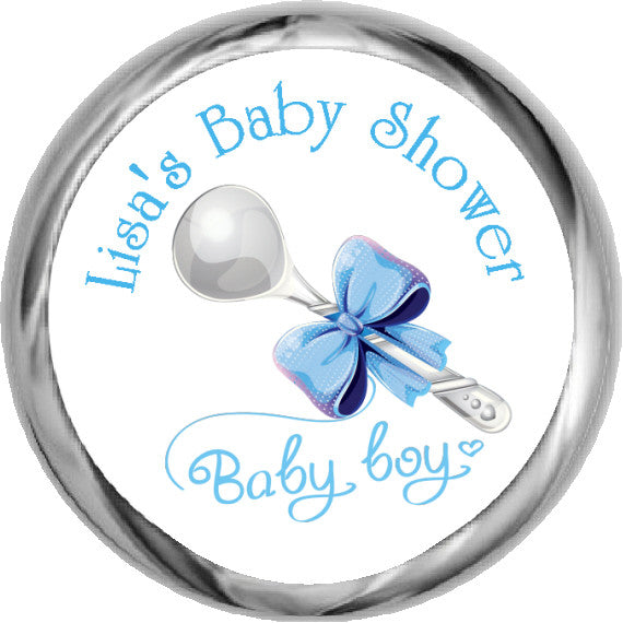 Baby Boy Silver Spoon Stickers - HERSHEY'S Kisses Favors (#HKS02) - StorkBabyGiftBaskets - 1