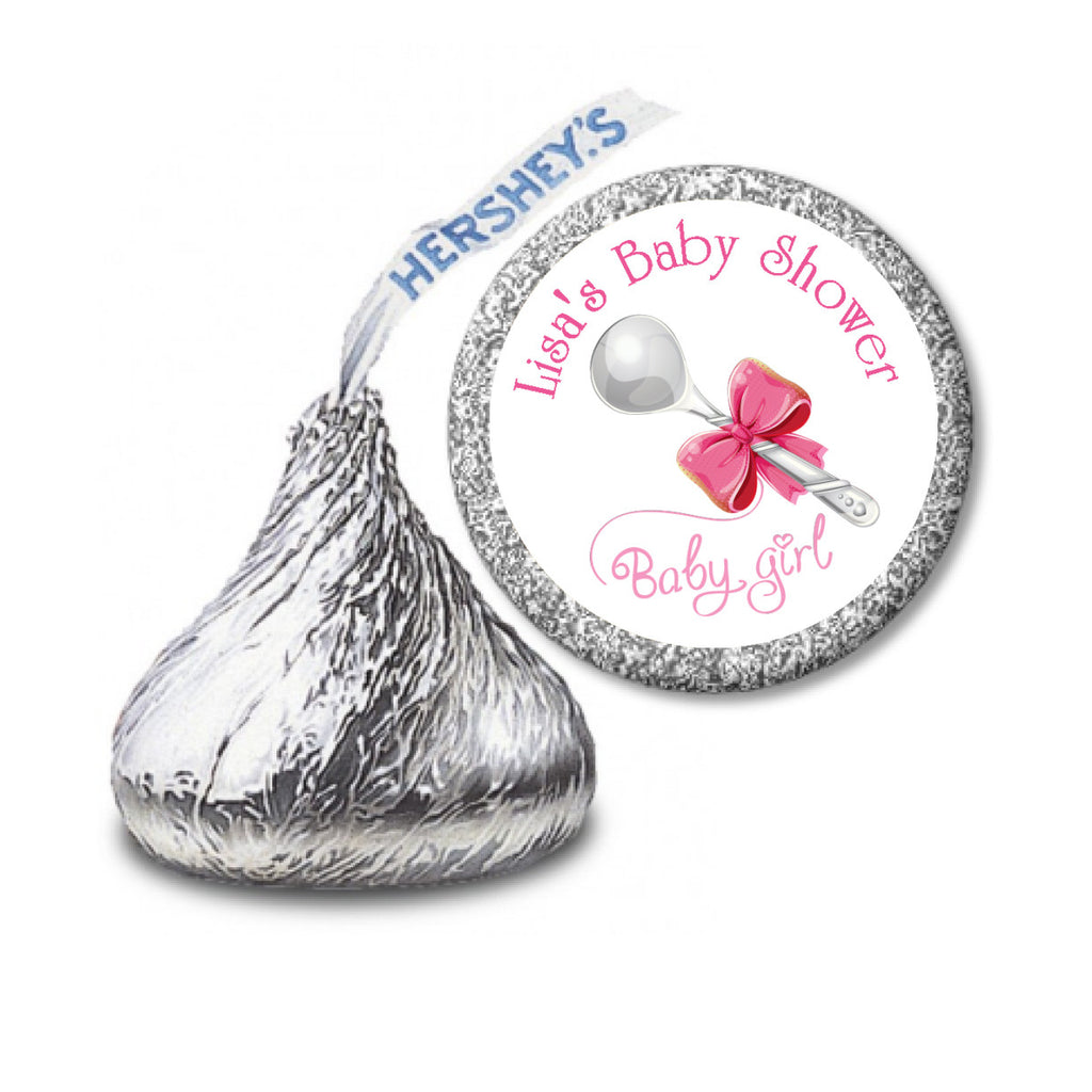 Baby Girl Silver Spoon Stickers - HERSHEY'S Kisses Candy (#HKS03) - StorkBabyGiftBaskets - 2