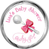 Baby Girl Silver Spoon Stickers - HERSHEY'S Kisses Candy (#HKS03) - StorkBabyGiftBaskets - 1