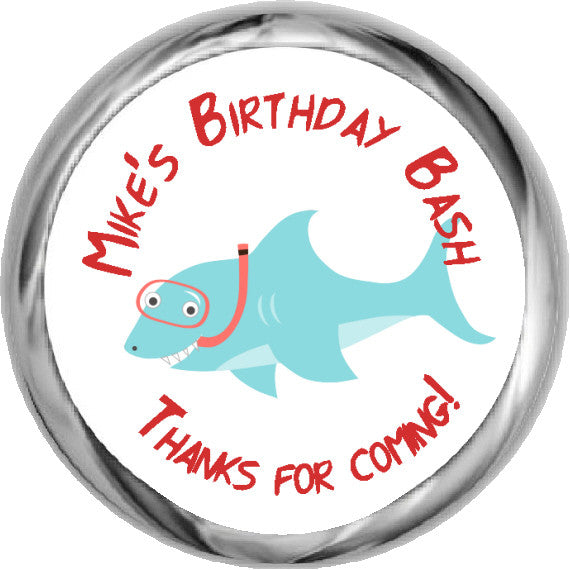 Snorkel Shark Stickers - Personalized HERSHEY KISSES Candy (#HKS313) - StorkBabyGiftBaskets