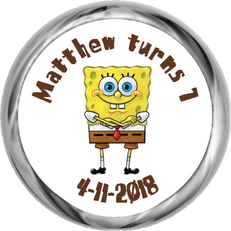 Spongebob Squarepants - Hershey Kisses Birthday Favors