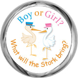 Pink and Blue Storks Sticker - Gender Reveal Candy Favors (#HKS39) - StorkBabyGiftBaskets - 1