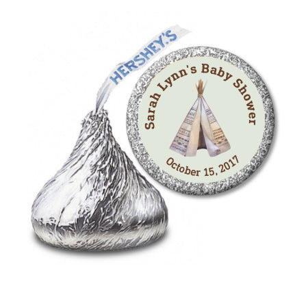 Tribal Teepee - Hershey Kiss Sticker Favor