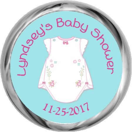 Tickled Pink Girl Baby Shower Kisses Sticker