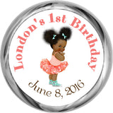 Tutus & Converse African-American Personalized HERSHEY KISS FAVOR (#HKS335) - StorkBabyGiftBaskets