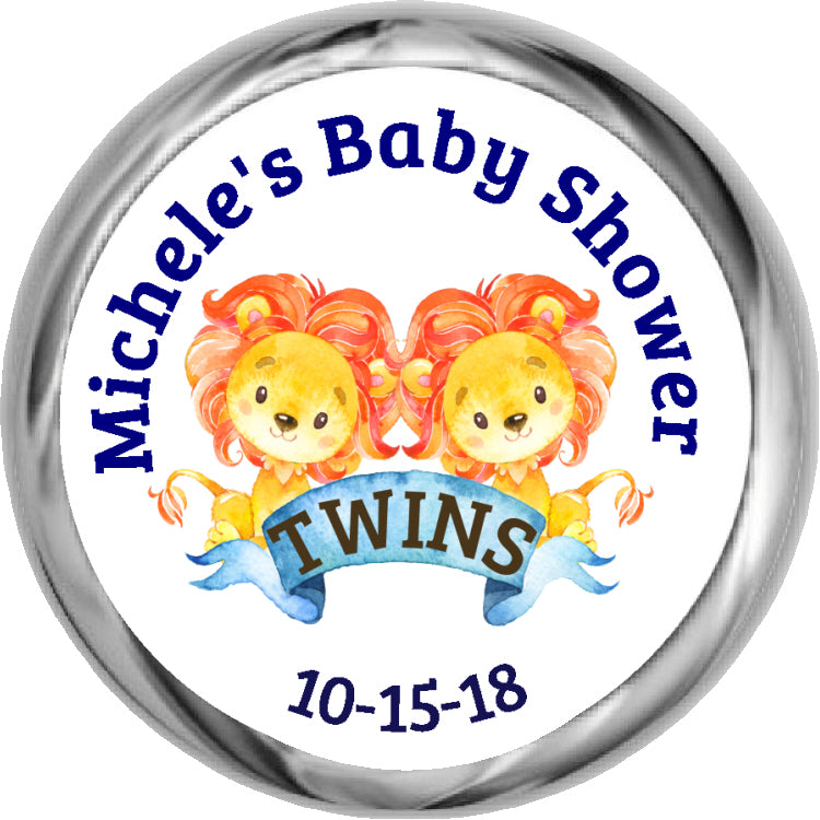 Twin Lion Stickers - Twins Baby Shower Favor (#HKS47)