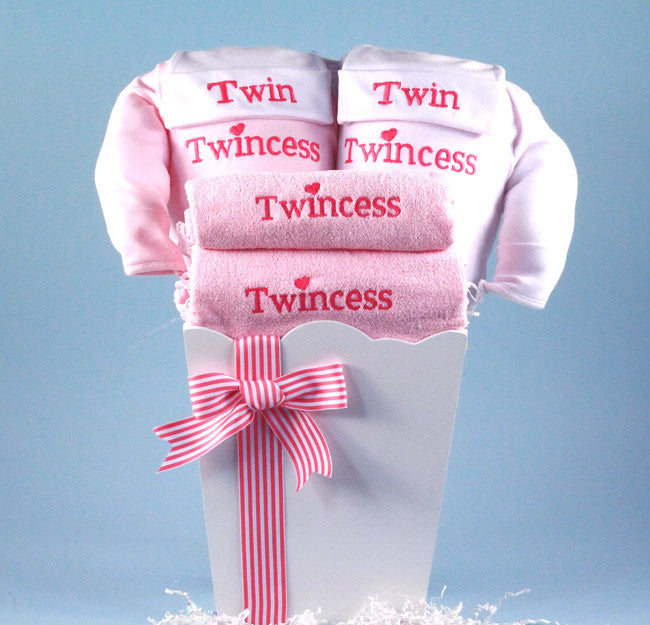 """Twincess"" Twins Girl's Basket (#BGC125) - Stork Baby Gift Baskets - 1"