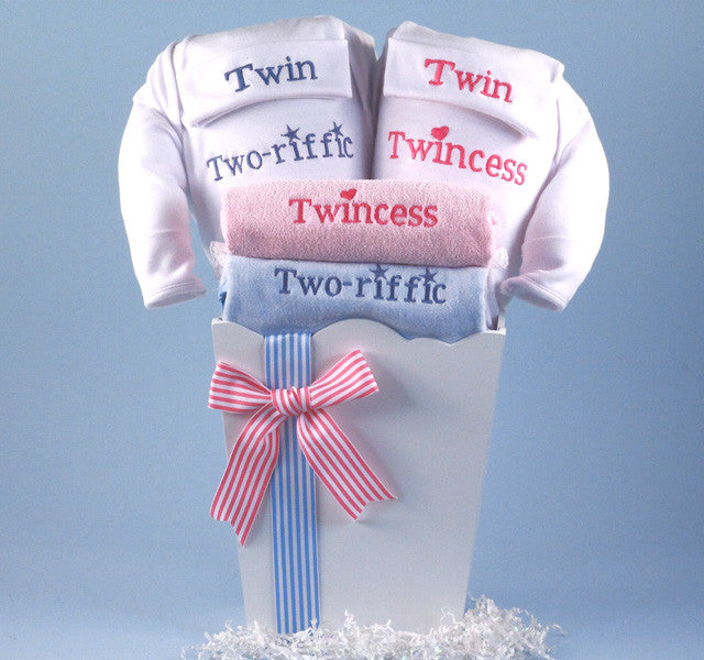 """Twincess & Two-riffic"" For Twin Babies (#BGC127) - Stork Baby Gift Baskets - 1"