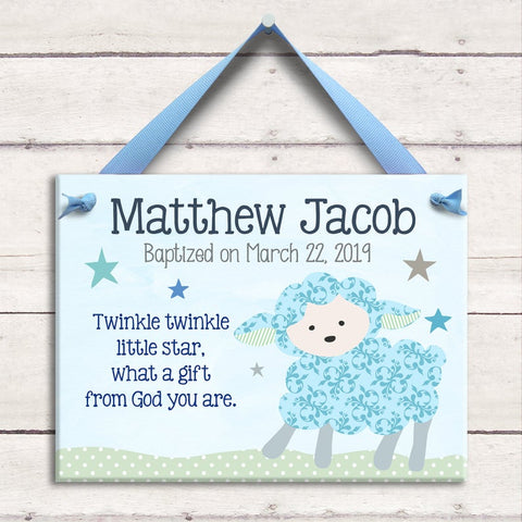 Happy Rainbows Baby Boy Name Plaque