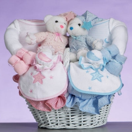 Twins - Pink and Blue Elephants Keepsake Plates (#LWC134)