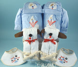 Twin Boys Puppy Gift Basket (#BGC191) - StorkBabyGiftBaskets