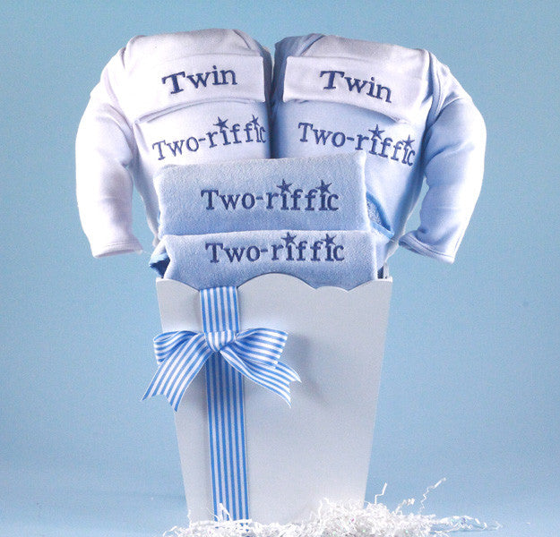 """Two-riffic"" Twins Boy's Basket (#BGC126) - Stork Baby Gift Baskets"