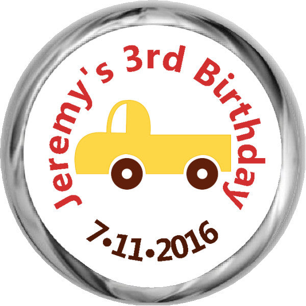 Yellow Truck Sticker - Boy's KISSES Candy Birthday (#HKS308) - StorkBabyGiftBaskets