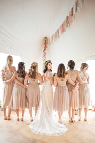 Maggie Sorrento bridal and sequin bridesmaid's dresses