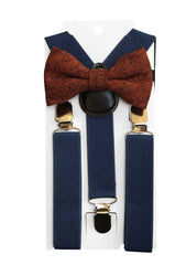 Rusty tweed kids bow tie and blue braces from Dickie Bow